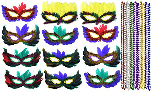 Mardi Gras Masks Cheap (Mardi Gras Mask & Beads Feather Costume Masquerade WellPackBox 12 Person Party Pack (12 Person))