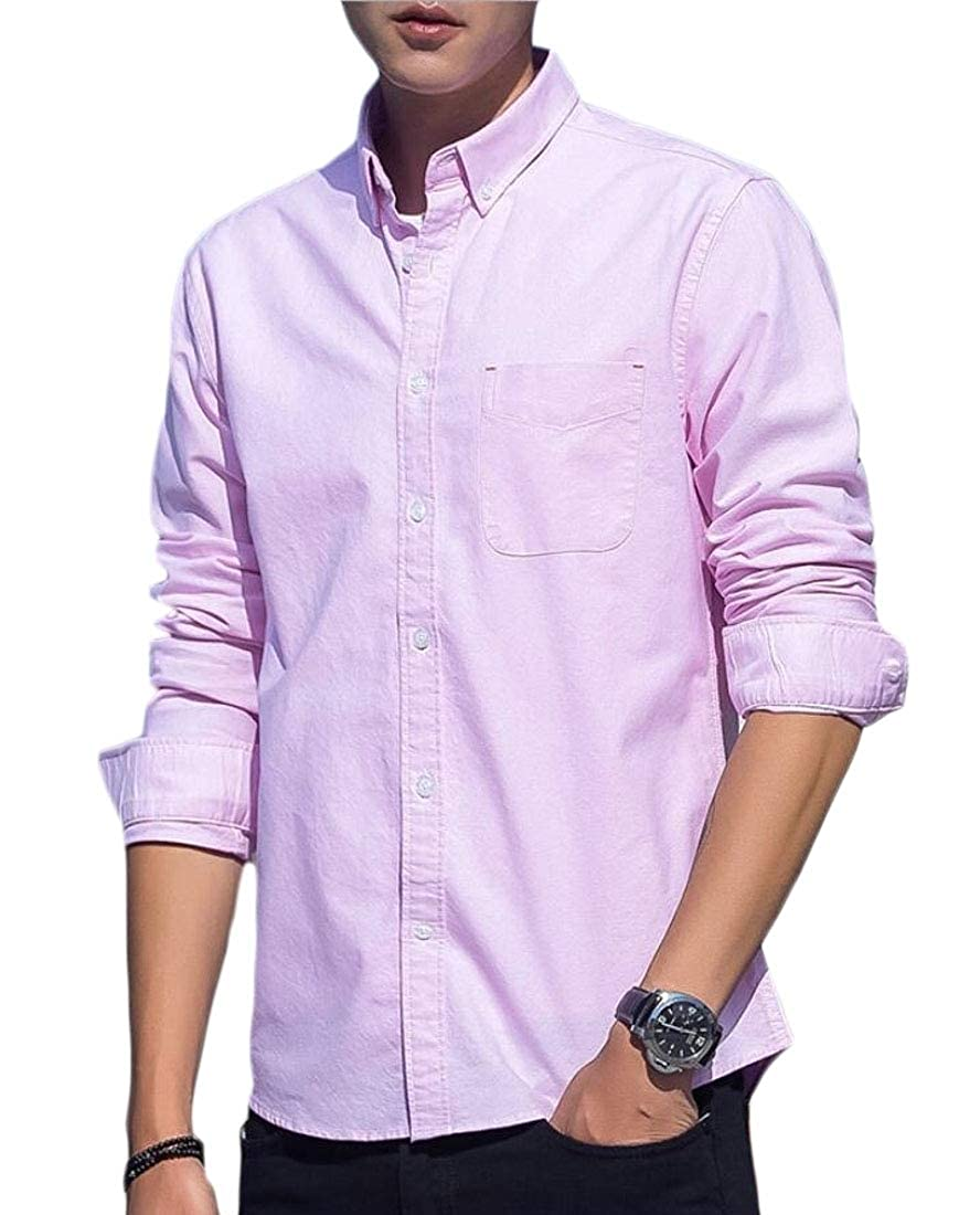 Xswsy XG Mens Oxford Leisure Slim Fit Long Sleeve Solid Color Button Front Shirts