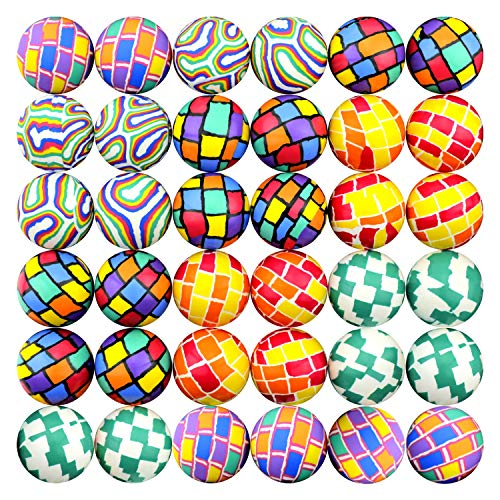 Hi Bouncing Balls 45 mm Colorful Assorted Mixed Superball Colored Balls in Bulk for Vending Machines Great for Kids Novelty Prizes Gifts in Bulk Rubber Large Bulk Bouncy Balls (Geometry Mix 1.77