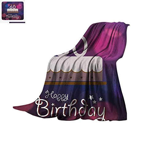 60th Birthday Throw Blanket Cartoon Modern Party Cake Quote On An Abstract Backdrop Print Artwork