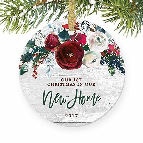 New Home Christmas Ornament 2017, Modern Farmhouse, First Christmas in Our New House Gift for Homeowner 1st Present Floral Ceramic Keepsake Present 3