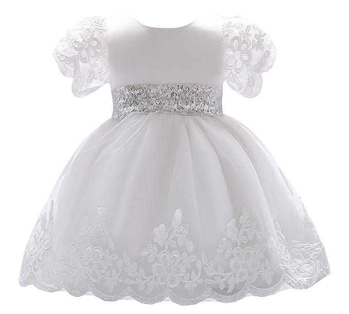 ad35f0fee0d3de La vogue Bimba Vestito Principessa Abito Pizzo Bianco Fiore Vestito  Battesimo Bambina: Amazon.it: Abbigliamento