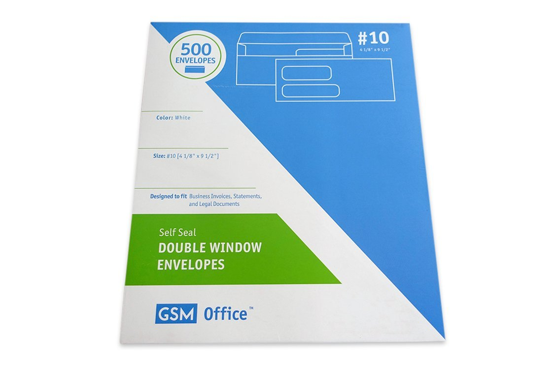 Self Seal Double Window Business Envelopes (#10 - Box of 500), Designed to Fit Invoices, Statements and Legal Documents (4 1/8'' x 9 1/2'')