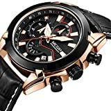 Waterproof Analog Watch Chronograph Leather Sport Quartz Military Watches for Men Calendar Date (gold)