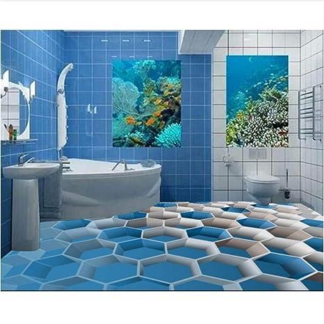 Qqasd Azulejos de piso 3D para cuartos de baño ...