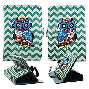 """Owl on Aqua Chevron For Toshiba Excite Go 7"""" 7 inch Universal Tablet Syn Leather Case Cover Case Cover Hard Case Snap-on Cover Folding Cover"""