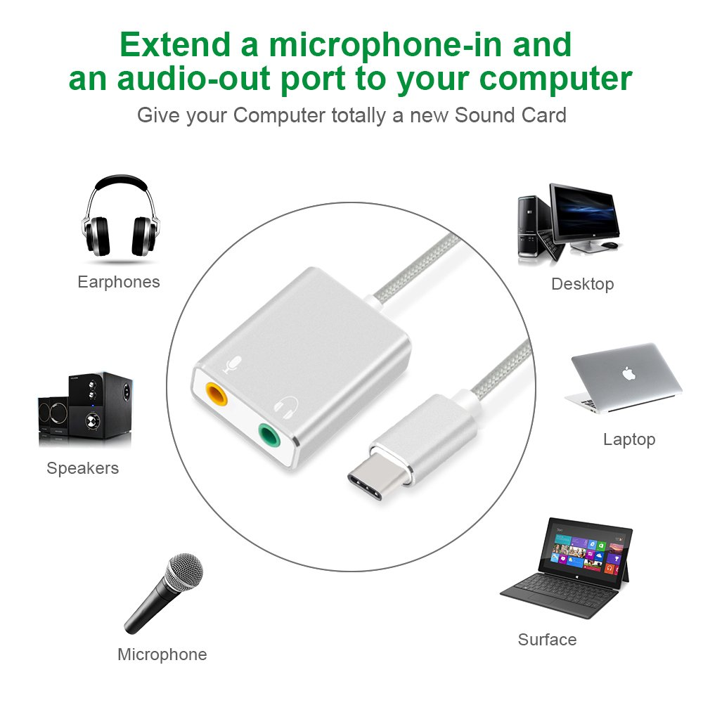 PC Type C-Noir ordinateurs de bureau adaptateur de carte son st/ér/éo externe Auswaur avec prise casque 3,5 mm et prise microphone pour Windows Adaptateur audio USB C ordinateurs portables Mac