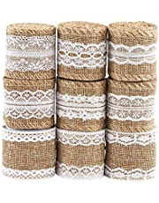 Naler 9 Rolls Lace Twine Ribbon Lace Linen, Natural Burlap Ribbon Rolls with Lace for Valentines Day, DIY Handmade, Crafts, Wedding, Party, Home, Table, Christmas Decoration