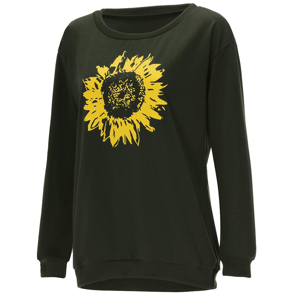 DAYPLAY Clothes for Women Plus Size Ladies Long Sleeve One Shoulder Sunflower Print Blouses Top Sweatshirt