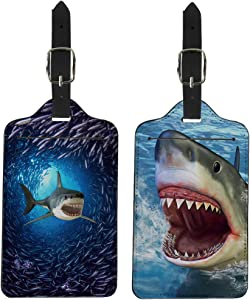 Coloranimal Luggage Tags, Fully Bendable Rubber Suitcase Labels for Women Men Unisex Teens Stylish Underwater Shark Design Initial Bag Tag