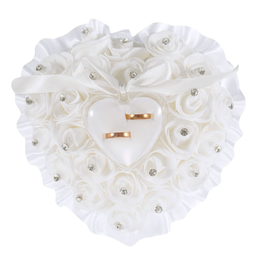 LONGBLE Heart Shape Wedding Ring Pillow White Elegant Rose Rhinestone Decoration Ring Cushion Bearer Box Jewery Case Ribbon Bowknot Ceremony Supplies Gift(W5)