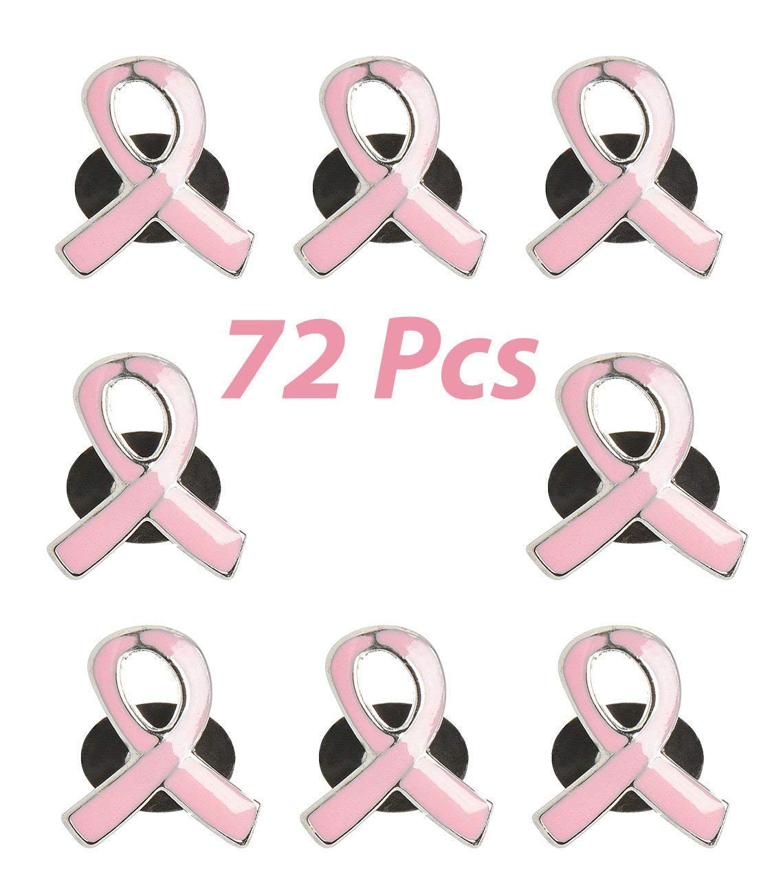 72 Pink Ribbon Pins Bulk, Breast Cancer Fundraising & Awareness Metal Lapel Pins, by 4E's Novelty by 4E's Novelty