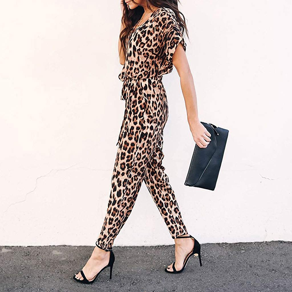 Spbamboo Womens Jumpsuit Rompers Womens Collar Short Sleeve Leopard Playsuits
