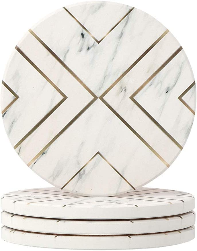 Lahome Geometric Design Coasters - Round Drinks Absorbent Stone Coaster Set with Ceramic Stone and Cork Base for Kinds of Mugs and Cups (White, 4)
