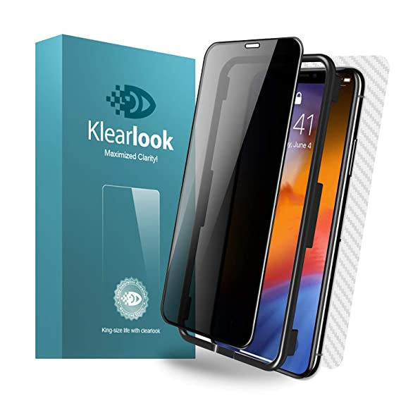 """Klearlook Privacy Glass Screen Protector Compatible with 6 5"""" i Phone Xs  Max (Install Tool),1-Full Coverage/Case-Friendly Anti-Peeping/Anti-Spy"""