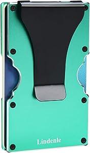 Lindenle Womens Minimalist Slim Wallet RFID Blocking Aluminum Card Holder Money Clip (Green)