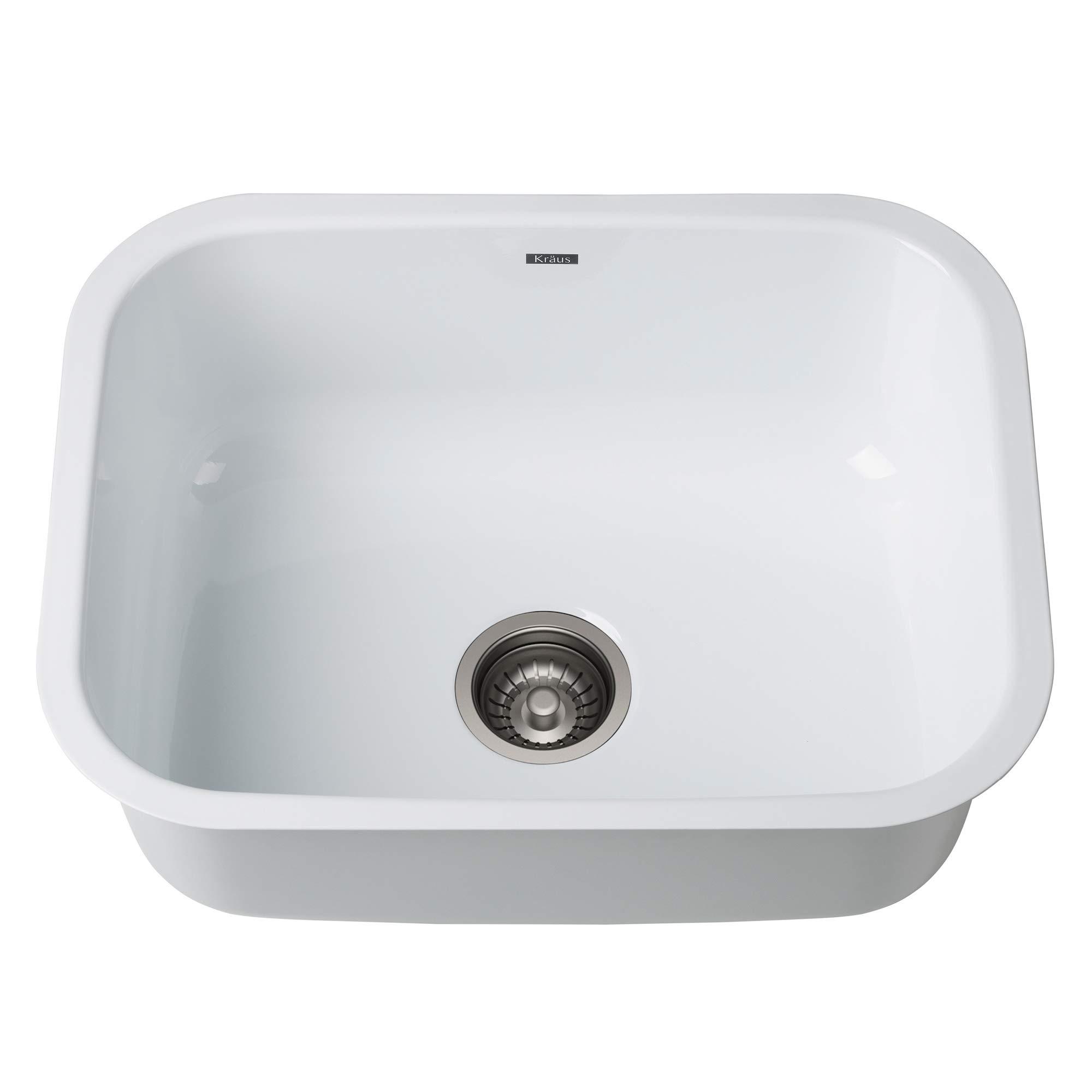 KRAUS KEU-12WHITE Pintura 16 Gauge Undermount Single Bowl Enameled Stainless Steel Kitchen Sink, 23-inch, White by Kraus