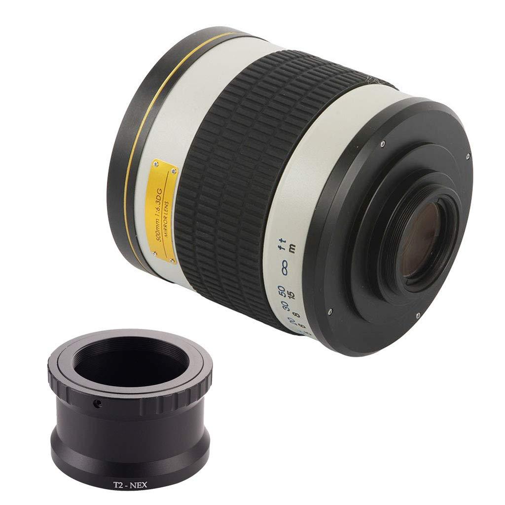 KESOTO ミラーレンズ 500mm f/6.3 望遠レンズ ソニーA7II A7R NEX- 7 5デジタルカメラ 互換性 T2-NEXアダプタ付   B07KMFQT16