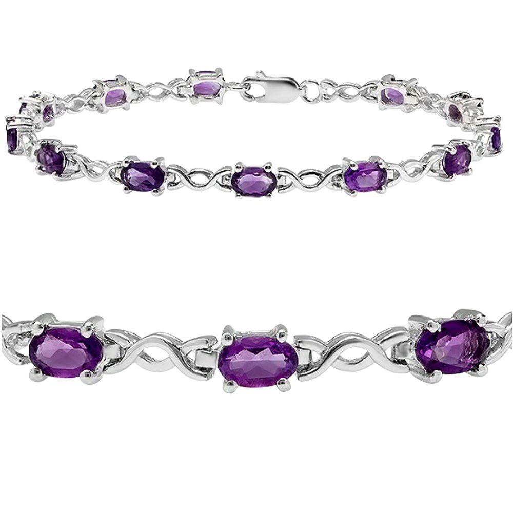 5cttw. Amethyst Infinity Tennis Bracelet set in Sterling Silver (7 1/4 inches)