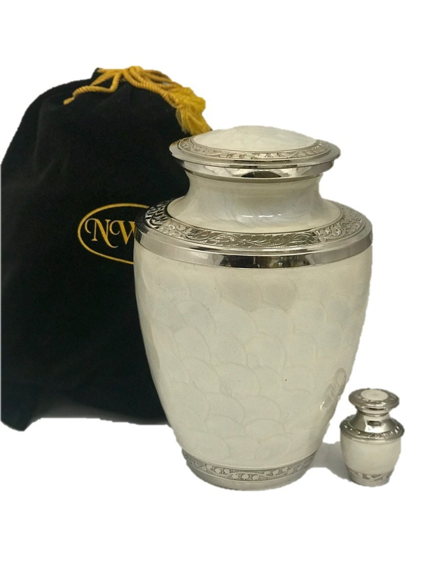 Adult Size Solid Brass Gorgeous Funeral Cremation Urn W/keepsake