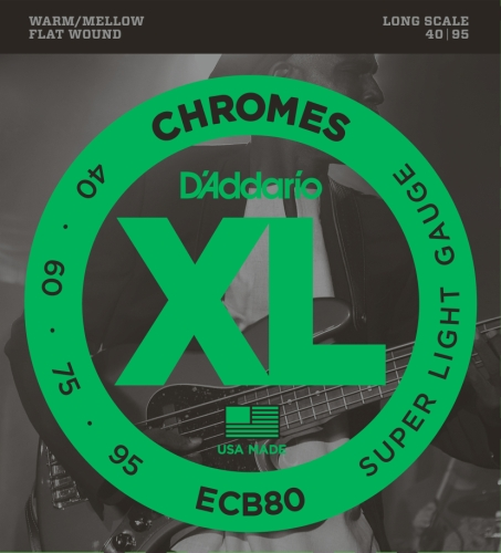 D'Addario ECB80 Bass Guitar Strings, Light, 40-95, Long Scale Daddario Chrome Bass Strings