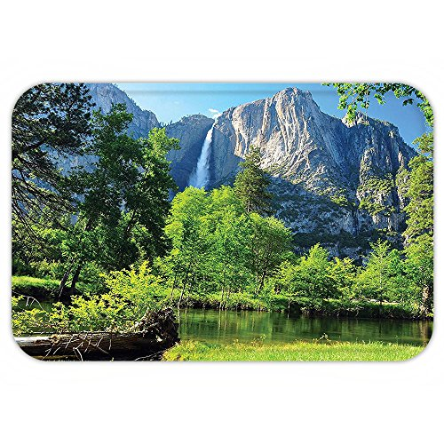 VROSELV Custom Door MatApartment Decor Collection Upper Yosemite FallCliff Yosemite National Park California Panoramic (California Panoramic Puzzle)