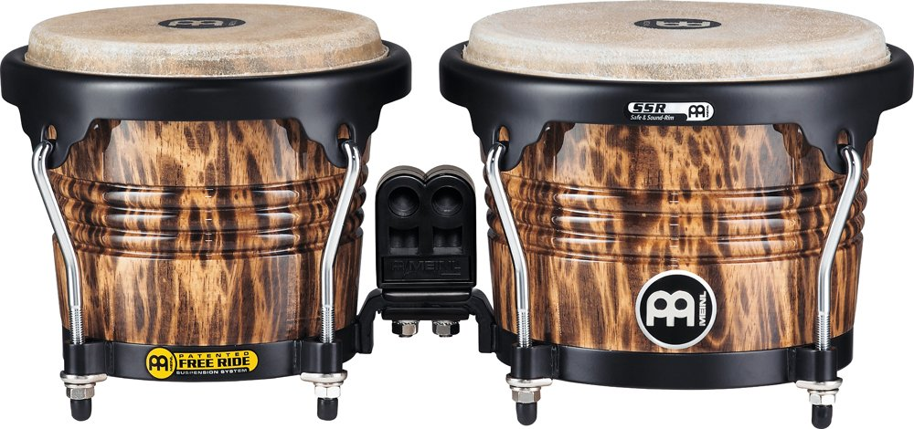 Meinl Percussion Bongos with Wood Shells, Leopard Burl Finish - NOT MADE IN CHINA, Free Ride Suspension System and Natural Skin Heads, 2-YEAR WARRANTY (FWB190LB) by Meinl Percussion
