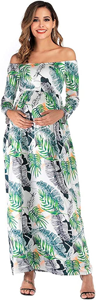 Maternity Dress Womens Off Shoulder Maxi Pregnancy Long Sleeve Floral Long Dress Casual Loose Party Gown Dresses