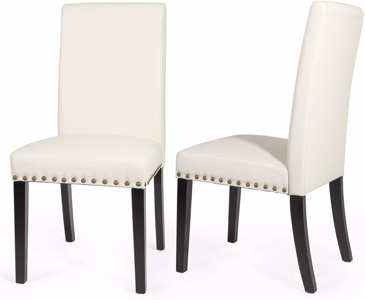 Barton Set of 2 Parson High-Back Faux Leather Stylish Dining Chair with Nailhead Trim Cushion Seat -Cream