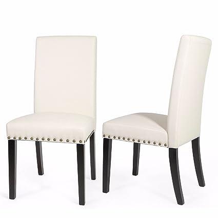 Remarkable Amazon Com Kchex1Pair Elegant Design Modern Beige Leather Machost Co Dining Chair Design Ideas Machostcouk