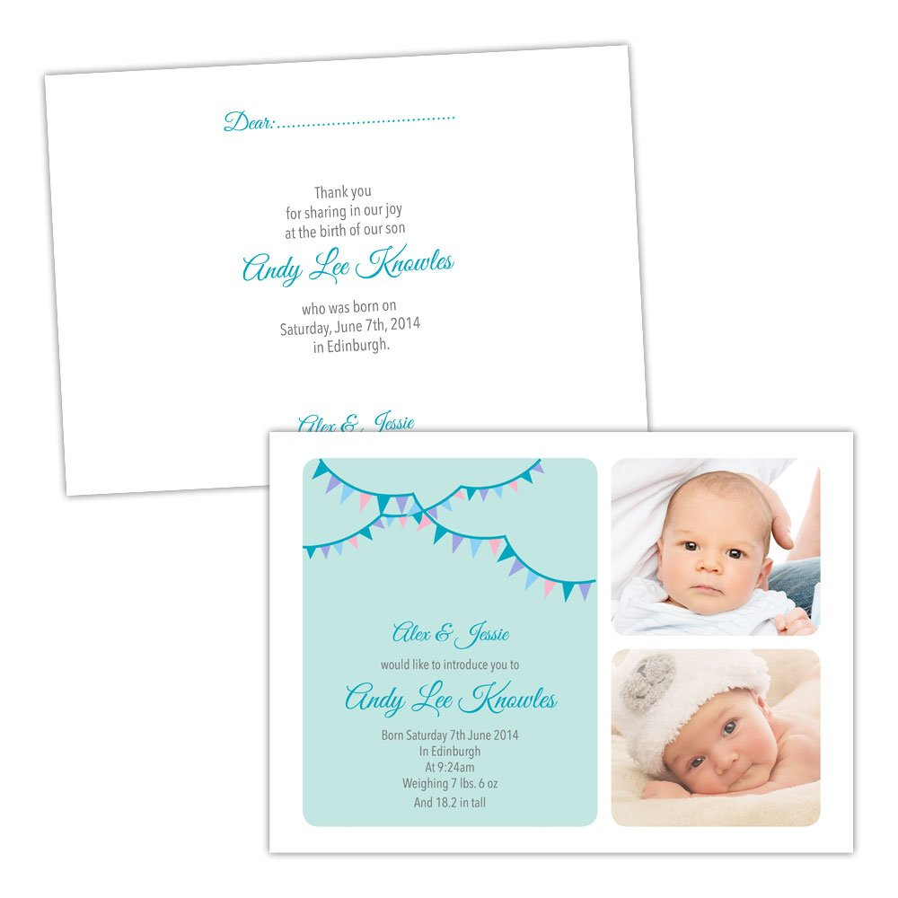 A5 doublesided Pearl or Textured card Made by Mika Personalised baby announcements blueE TEAL BUNTING BOY FREE DRAFT & FREE ENVELOPES (50, A5 doublesided Pearl or Textured card)