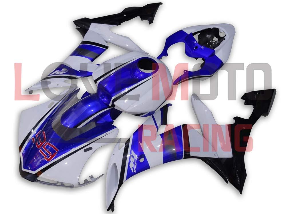 LoveMoto ブルー/イエローフェアリング ヤマハ yamaha YZF-1000 R1 2004 2005 2006 04 05 06 YZF 1000 ABS射出成型プラスチックオートバイフェアリングセットのキット ブルー ホワイト   B07KKBBJ8P