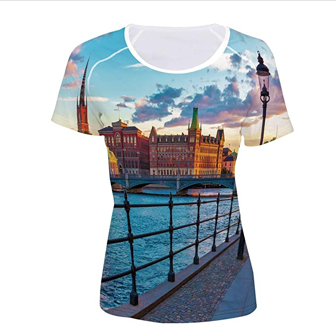 2baaa3a3 Amazon.com: T-Shirt,Old Town Sweden by Lake Gamla Stan View Autumn ...