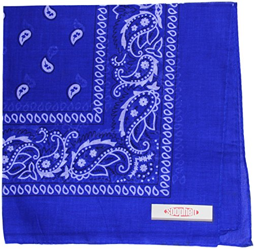 Soophen Paisley One Dozen Cowboy Bandanas  Royal Blue 22 X 22 In   12 Pack
