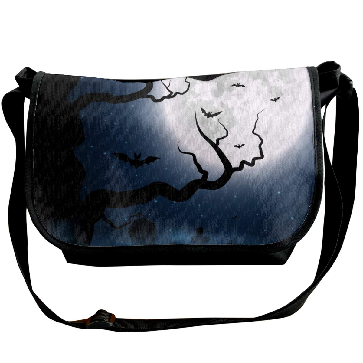 Taslilye Halloween Night Moon Bat Dead Tree Personalized Wide Crossbody Shoulder Bag For Men And Women For Daily Work Or Travel