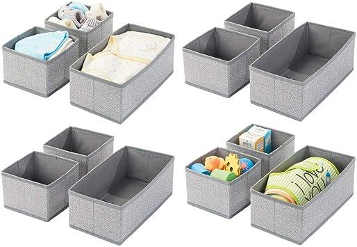 mDesign Soft Fabric Dresser Drawer and Closet Storage Organizer for Kids//Toddler Room Set of 6 Bedroom Nursery Herringbone Print Playroom Organizing Bins in 2 Sizes Blue