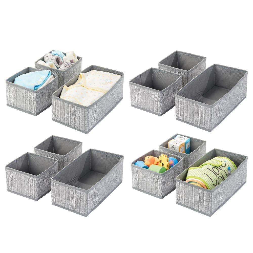 mDesign Soft Fabric Dresser Drawer and Closet Storage Organizer for Kids/Toddler Room, Nursery, Playroom, Bedroom - Herringbone Print - Organizing Bins in 2 Sizes - Set of 12 - Gray by mDesign