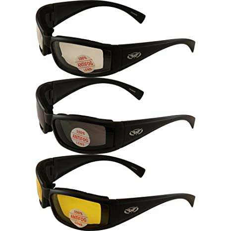 8468ed0c8c3 Amazon.com  Set of (3) Stray Cats Motorcycle Glasses Sunglasses Smoked  Clear Yellow New Double Sided Anti Fog Coating Foam Padded UV400 MSRP is   48.00 for ...