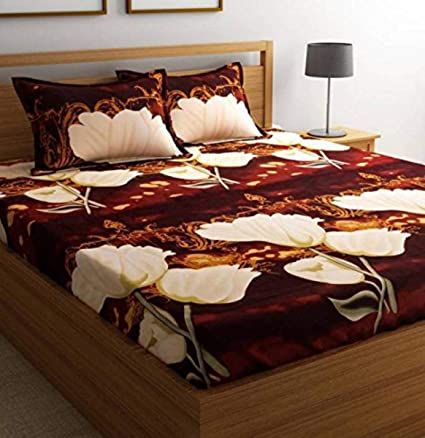 Zain Super Soft 3D Floral Printed Double Bedsheets with 2 Pillow Covers