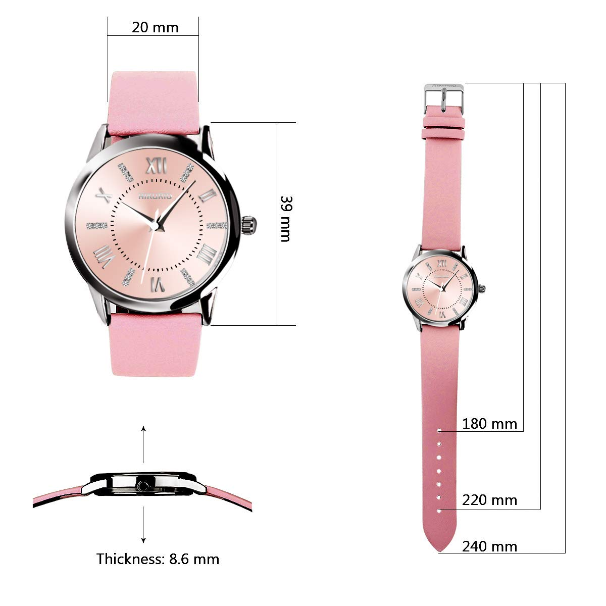 AIKURIO Women s Wrist Watch Analog Quartz with Leather Strap and Crystal Dial 30M Waterproof Classic Daily Style AKR001
