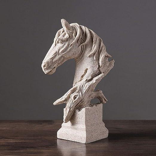 BFFDD Retro Testa di Cavallo Grandi Ornamenti casa Soggiorno Ufficio Decorazione Artigianato Statue