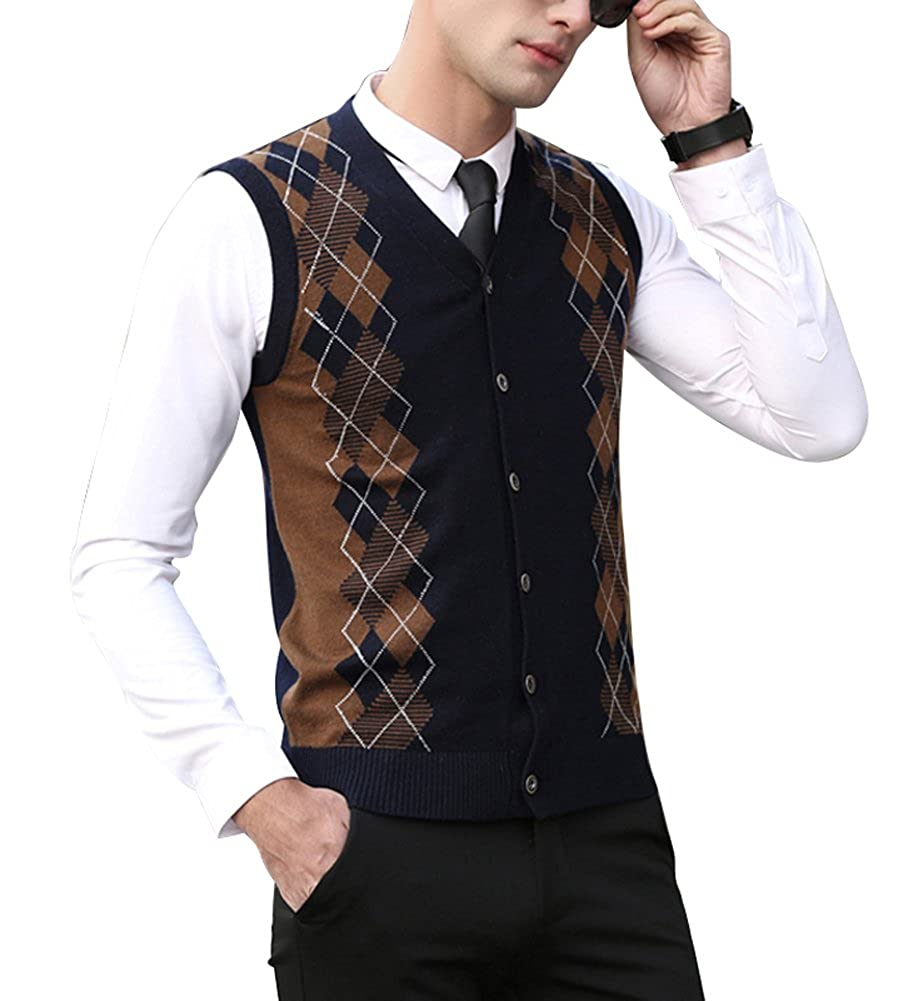 Men's Vintage Vests, Sweater Vests Zicac Mens Casual Slim Fit Argyle Sweater Knitwear Vest Sleeveless Sweater Button $27.69 AT vintagedancer.com