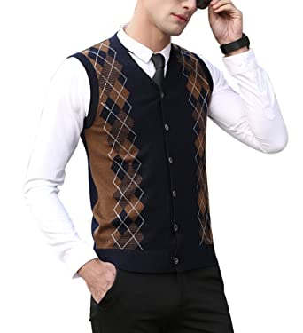 Zicac Mens Casual Slim Fit Argyle Sweater Knitwear Vest Sleeveless ...