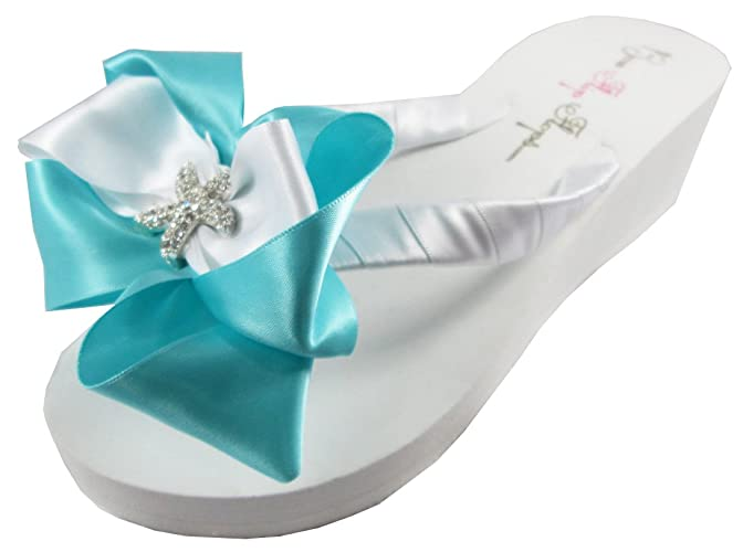 b571928af646e Amazon.com: Starfish Wedding Flip Flops for Brides, Robin's Egg Blue ...