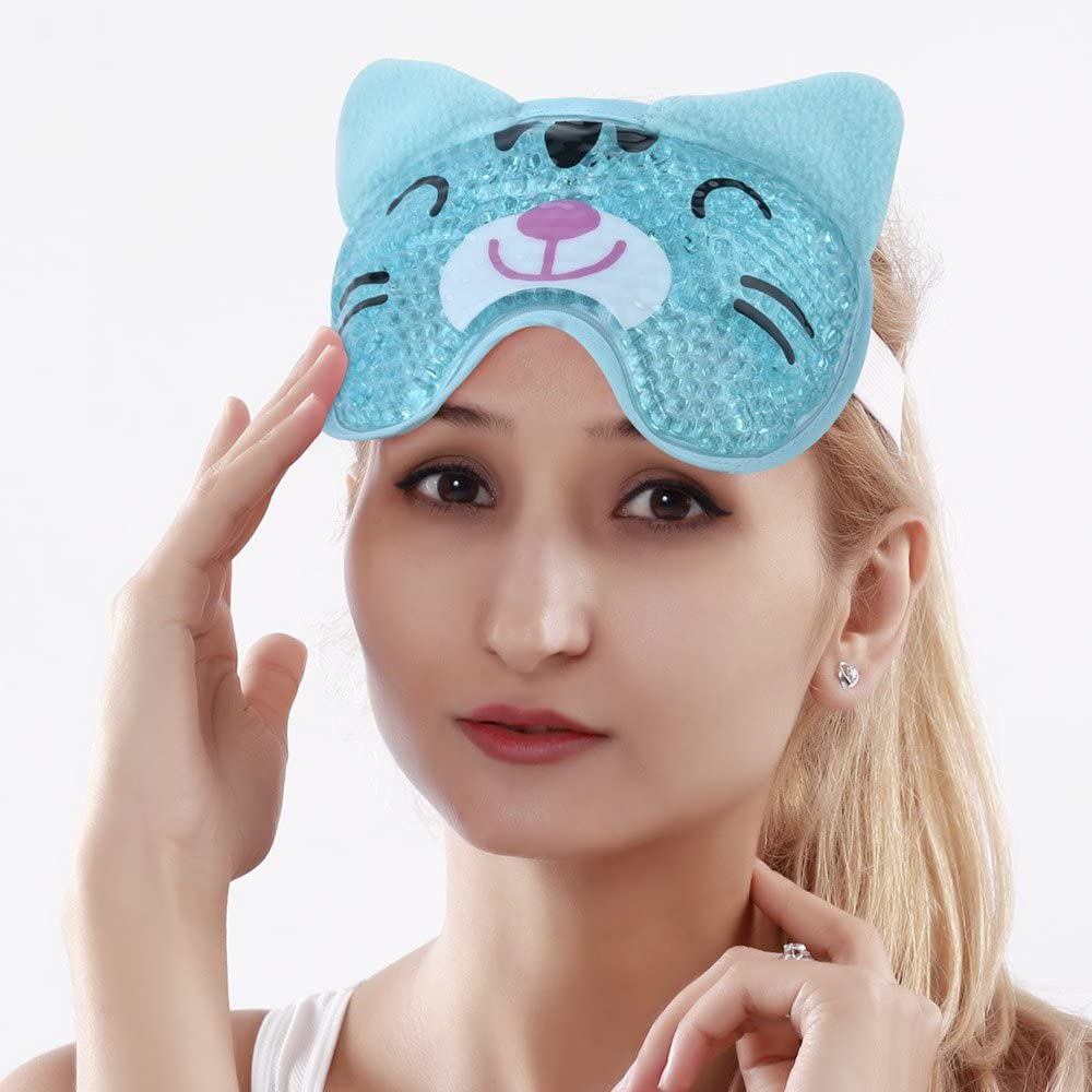 NEWGO®Cold Eye Compress for Puffy Eyes Reusable Gel Beads Hot Cold Pack Eye Mask for Migraines & Headaches - Cat Blue