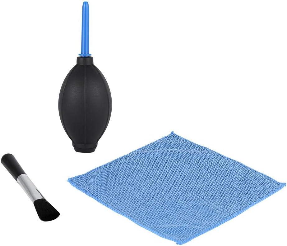طقم منظف 3 في 1 قماش تنظيف العدسات + فرشاة تنظيف الغبار للعدسة النظيفة + منفاخ هواء للكاميرا DSLR VCR ساعة نظيفة