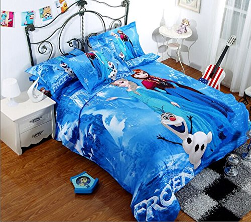 Lt Twin Full Queen Size 4-pieces Elsa Anna Frozen Cartoon White Blue Prints Fitted Sheet Sets (With Rubber Around)duvet Cover Set/bed Linens/bed Sheet Sets/bedclothes/bedding Sets/bed Sets/bed Covers/5-pieces Comforter Sets/bed in a Bag (4pcs without comforter, Queen)