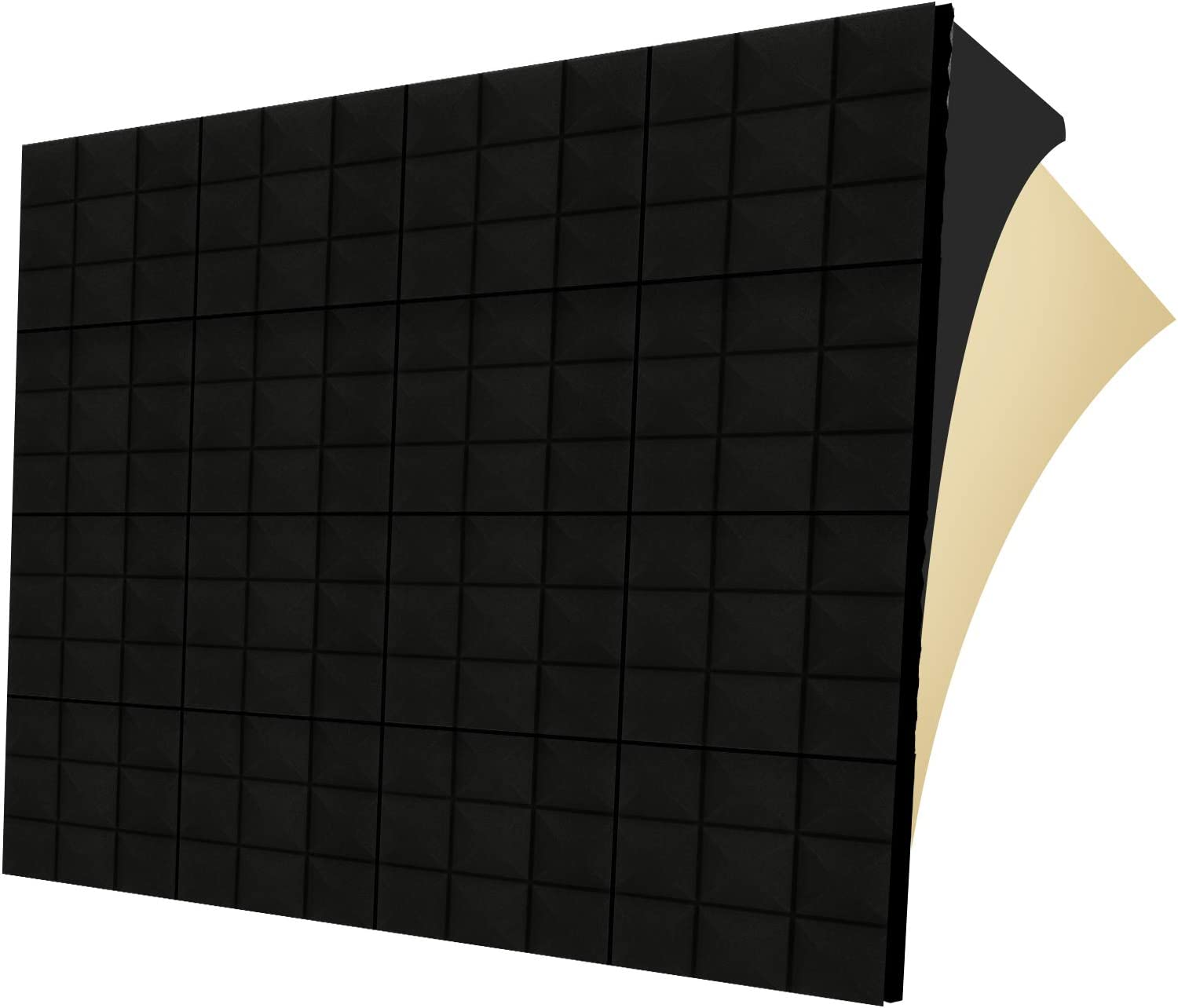 "G-WACK 12 Pack SELF-ADHESIVE Sound Proof Foam Panels, 1.5"" X 12""x 12"", Acoustic Foam Panels,sound Proofing Padding for Wall, Noise Blocker, Sound Absorbing Panel Acoustic Tiles Gaming Room Studio Foam"
