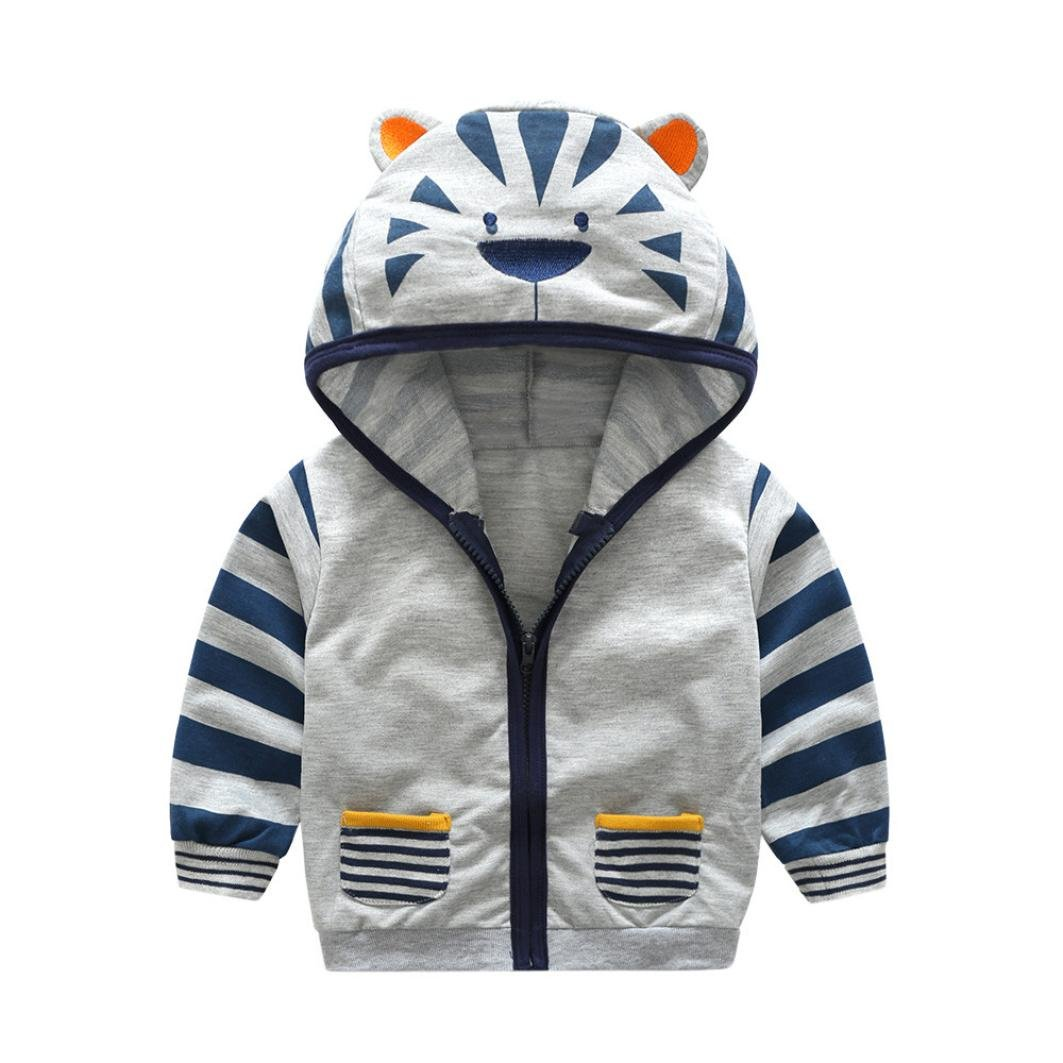 Sumen Baby Boy Girl Hooded Zipper Coat Cartoon Animal Tiger Fox Tops Clothes
