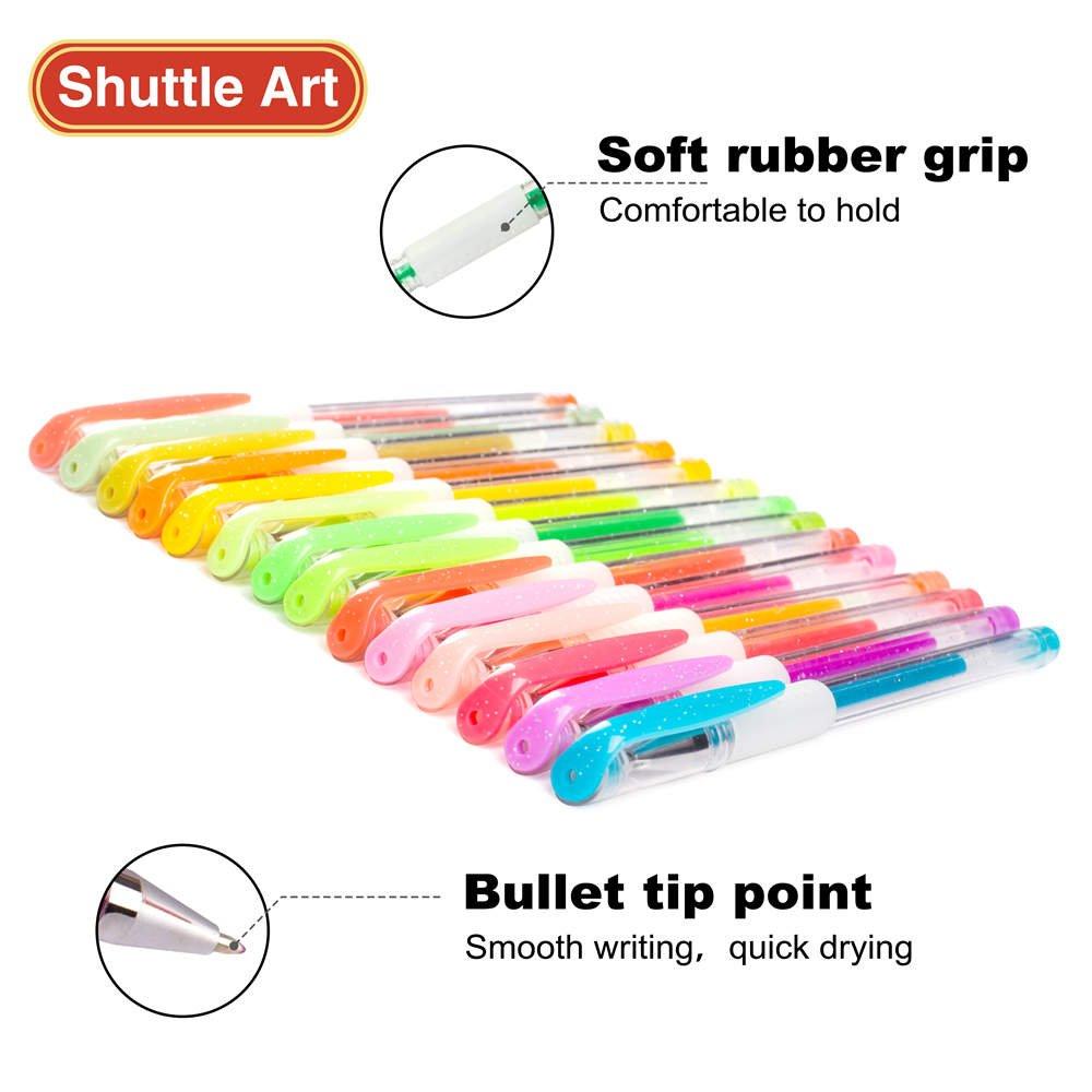 Shuttle Art 260 Colors Gel Pens Set 220% Ink Gel Pen for Adult Coloring Books Art Markers 130 Colored Gel Pens Plus 130 Refills by Shuttle Art (Image #4)